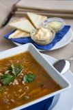 Seafood soup. With cheese toast triangles Royalty Free Stock Photos