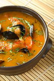 Seafood soup. Made from difefrent fishes and shrimps Stock Image