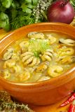 Seafood soup. Hot seafood soup with mussel, squid and shrimps Stock Images