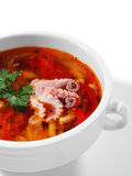 Seafood Soup. Spicy Seafood Soup. Isolated on White Background Royalty Free Stock Photography