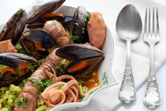 Seafood Soup With Bread Crumbs Passatelli Royalty Free Stock Image