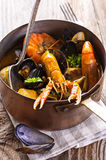 Seafood Soup in Casserole Royalty Free Stock Images