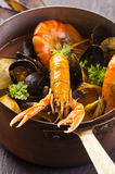 Seafood Soup in Casserole Royalty Free Stock Photography