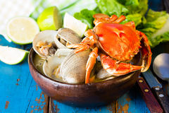Seafood soup of clams and crabs Paila marina Royalty Free Stock Photos