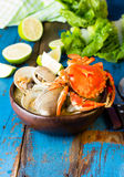 Seafood soup of clams and crabs Paila marina Stock Image