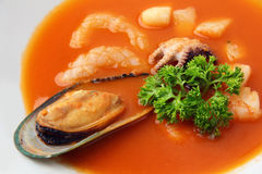 Seafood soup closeup Stock Photography