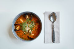 Seafood soup with fish and blue mussels in bowl Royalty Free Stock Photo