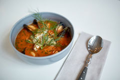Seafood soup with fish and blue mussels in bowl Stock Image
