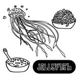 Seafood soup of jellyfish. Sea jellyfish from. China yellow sea. Vector Royalty Free Stock Photography