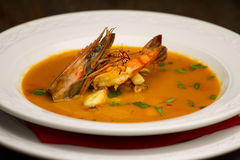 Seafood soup. Mediterranean specialty: seafood soup detail Stock Image
