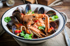 Seafood soup with mix of shellfish Stock Images