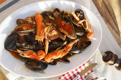 Seafood soup with mussels and crustacean. Seafood soup in bouille of tomato with crustacean and mussels Stock Photos