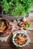 Seafood soup with mussels and shrimps Royalty Free Stock Images