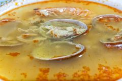 Seafood soup served on the plate Royalty Free Stock Photography