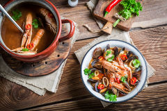 Seafood soup with shrimps and mussels Stock Photography