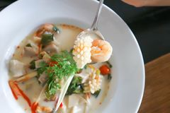 Seafood soup or thai soup or spicy soup Royalty Free Stock Images