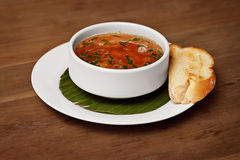 Seafood soup with toasted bread Royalty Free Stock Images
