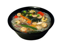 Seafood soup, wakame seaweed and rice noodles Royalty Free Stock Photography