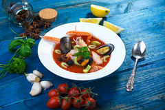 Seafood soup Stock Photos
