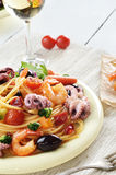 Seafood spaghetti marinara pasta dish Stock Photo