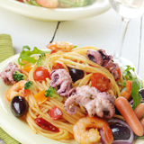 Seafood spaghetti marinara pasta dish Royalty Free Stock Photos