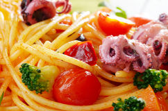 Seafood spaghetti marinara pasta macro photo Stock Photo