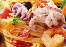 Seafood spaghetti marinara pasta macro photo Stock Photography