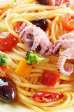 Seafood spaghetti marinara pasta macro photo Royalty Free Stock Photos