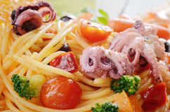 Seafood spaghetti marinara pasta macro photo Royalty Free Stock Photography