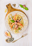 Seafood spaghetti with  mussel,  anchovy, baby octopus and  big shrimp Stock Image