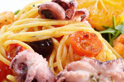 Seafood spaghetti pasta dish with octopus shrimps Royalty Free Stock Images
