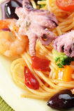 Seafood spaghetti pasta dish with octopus shrimps Royalty Free Stock Photography