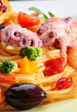 Seafood spaghetti pasta dish with octopus shrimps Stock Photography