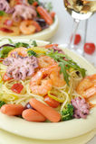 Seafood spaghetti pasta dish with octopus and shrimps Stock Images