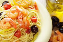 Seafood spaghetti pasta dish with shrimps Stock Image