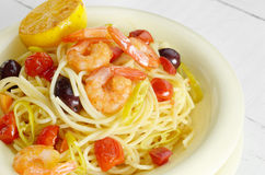 Seafood spaghetti pasta dish with shrimps Royalty Free Stock Photo