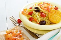 Seafood spaghetti pasta dish with shrimps Stock Images