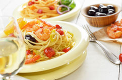 Seafood spaghetti pasta dish with shrimps Royalty Free Stock Images