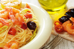 Seafood spaghetti pasta dish with shrimps Royalty Free Stock Image