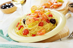 Seafood spaghetti pasta dish with shrimps Stock Photos