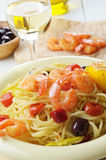Seafood spaghetti pasta dish with shrimps Royalty Free Stock Photography