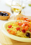 Seafood spaghetti pasta dish with shrimps Stock Photo