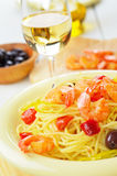 Seafood spaghetti pasta dish with shrimps Royalty Free Stock Photos