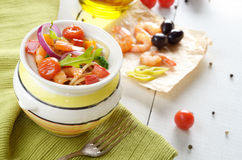 Seafood spaghetti pasta pot Stock Images