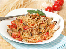Seafood spaghetti on a plate Royalty Free Stock Image