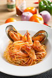 Seafood Spaghetti. With shrimp and mussel and tomato sauce Royalty Free Stock Photo