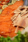 Seafood special. Well decorated seafood cold dish royalty free stock image