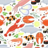 Seafood and spices  background for restaurant menu Royalty Free Stock Photography