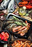 Seafood with spices. stock photo