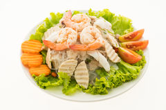 Seafood Spicy noodles salad with thai style Royalty Free Stock Photography